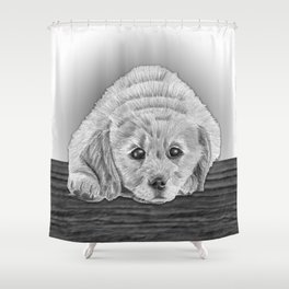 Golden Retriever Puppy Pencil Drawing Shower Curtain