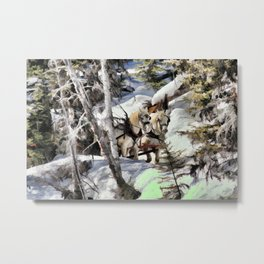 Horses in the Winter Metal Print