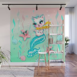 Tropical Merkitten with Lei and Starfish Wall Mural
