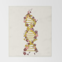 Floral DNA Throw Blanket