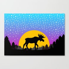 Moose Moon Light Pink and Light Blue Canvas Print