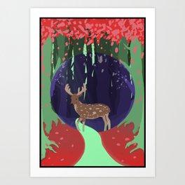 Wild Deer at Dawn Art Print