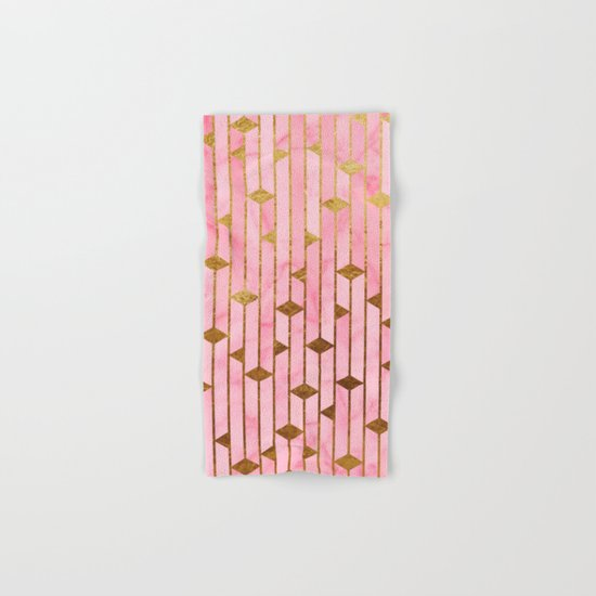 Pink Marble Skyscrapers Hand & Bath Towel