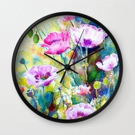 Watercolor purple poppies Wall Clock