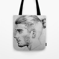 zayn malik Tote Bags featuring zayn malik by Adele_F