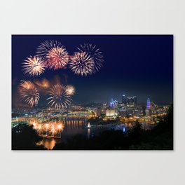 Fireworks over Pittsburgh on 4th July Canvas Print