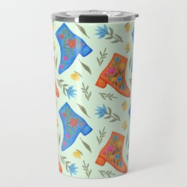These boots are made for walking | Pale green pattern Travel Mug