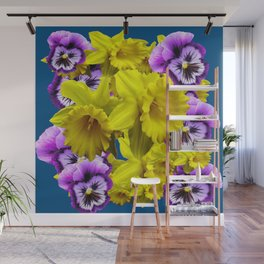 YELLOW SPRING DAFFODILS & LILAC PANSIES BLUE COLOR Wall Mural