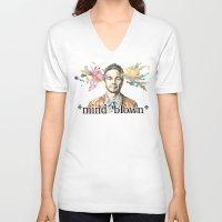 james franco V-neck T-shirts featuring Mind Blown::James Franco by James Murlin
