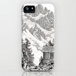 BEYOND MOUNT SHUKSAN BLACK AND WHITE VINTAGE PEN DRAWING iPhone Case