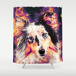 border collie dog 5 portrait wslsh Shower Curtain