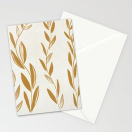 Golden leaves and stems Stationery Cards
