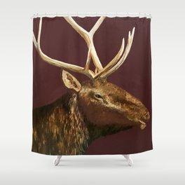 Big Bull Elk Profile Shower Curtain