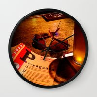 propaganda Wall Clocks featuring Propaganda Brewski by J VanBlarcum