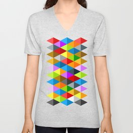 Modern bright funky colorful triangles pattern Unisex V-Neck