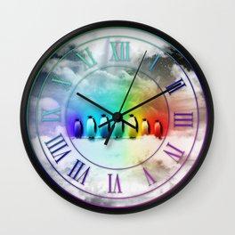 Rainbow Penguins Wall Clock