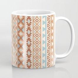 Aztec Stylized Pattern Blue Cream Terracottas Coffee Mug
