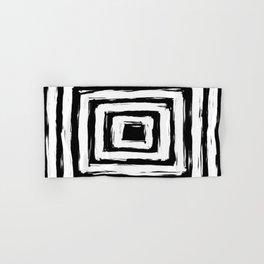 Minimal Black and White Square Rectangle Pattern Hand & Bath Towel
