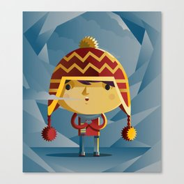 cute kid in the winter with a coy cap Canvas Print