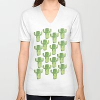 cacti V-neck T-shirts featuring cacti by kristinesarleyart