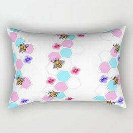 Trans Pride Floral Bee Print Rectangular Pillow
