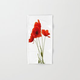 Delicate Red Poppies Vector Hand & Bath Towel