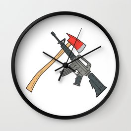 Crossed Fire Ax and M4 Carbine Rifle Drawing Wall Clock