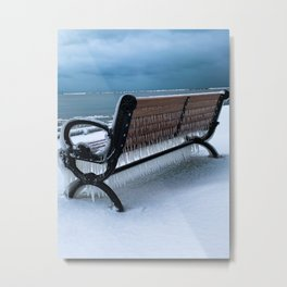 Another Cold Place to sit on Dunkirk Pier Metal Print