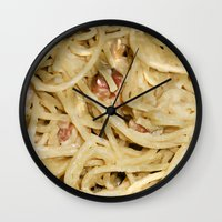 pasta Wall Clocks featuring Carbonara Pasta by Anand Brai