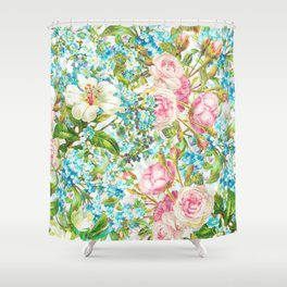 Vintage & Shabby Chic - Roses and Forgetmenot Flowers Shower Curtain