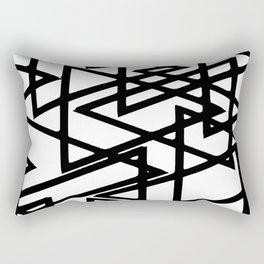 Interlocking Black Triangles Artistic Design Rectangular Pillow
