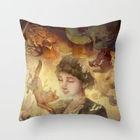 silent Throw Pillows featuring Silent Visions by Corinne Reid