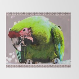 Endangered Great Green Macaw Throw Blanket