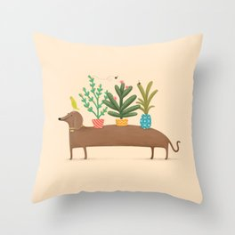 Dachshund & Parrot Throw Pillow