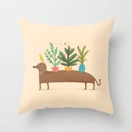 Dachshund & Parrot Throw Pillow