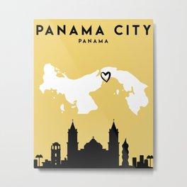 PANAMA CITY PANAMA LOVE CITY SILHOUETTE SKYLINE ART Metal Print