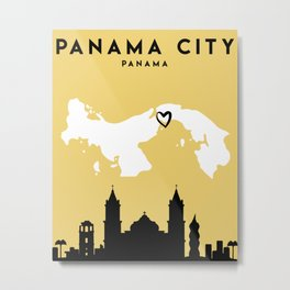 PANAMA CITY PANAMA LOVE CITY SILHOUETTE SKYLINE ART Metal Print