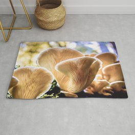 Chanterelle mushrooms in the forest Rug