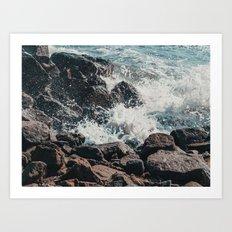 Splashing Waves on Rocks 01 Art Print