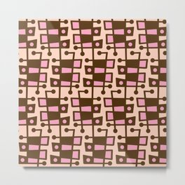 Mid Century Modern Abstract 212 Pink and Brown Metal Print