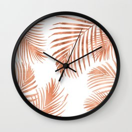 Rose Gold Palm Leaves Wall Clock
