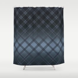 Dark gray pattern in the forward cage on satin grey background . Shower Curtain