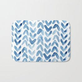 Blue Chevron Watercolour Bath Mat