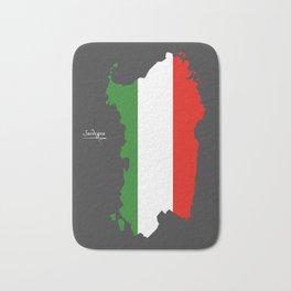 Sardegna map with Italian national flag illustration Bath Mat