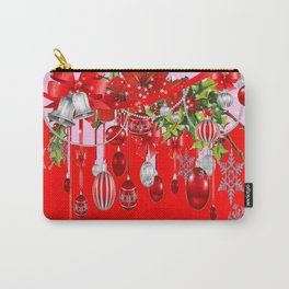 RED CHRISTMAS SNOW FLAKES & AMARYLLIS CHRISTMAS ORNAMENTS Carry-All Pouch