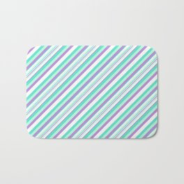 Deep Sea Green Turquoise Violet Inclined Stripes Bath Mat