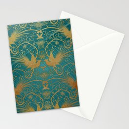 """""""Turquoise and Gold Paradise Birds"""" Stationery Cards"""