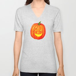 Pumpkin Pattern - Black Unisex V-Neck