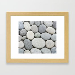 Grey Beige Smooth Pebble Collection Framed Art Print