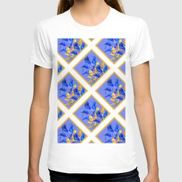 PATTERNED MODERN ABSTRACT BLUE & GOLD CALLA LILIES T-shirt